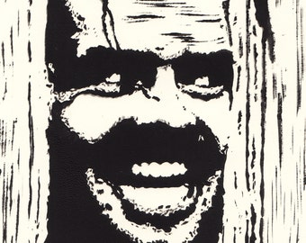 Jack Nicholson (Actor) Lino Block Print