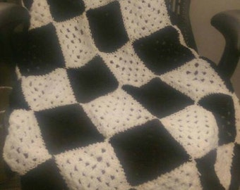 Crocheted Checkered Flag Afghan