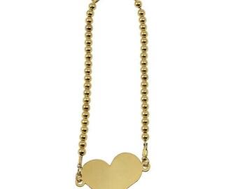 Handmade bead  bracelet with heart 3 mm