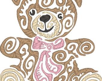 Squirly teddy bear machine embroidery design