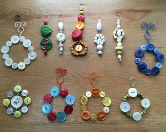 Hanging decorations made with buttons and beads