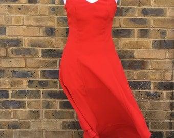 jintys geranium red layered slip dress  size 10