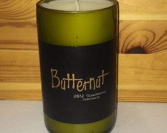 Butternut Cut Wine Bottle natural Soy Candle