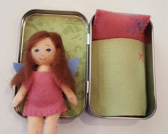 Miniature felt doll, pocket fairy, 3 1/2 in.tall, altoids tin bed/carrying case,blanket & pillow, stocking stuffer, Christmas gift for girls
