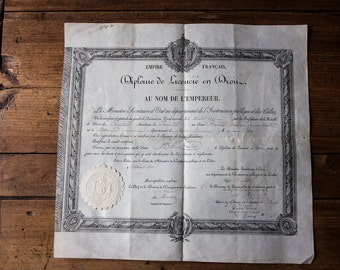 Old vellum paper graduate degree in law 1819