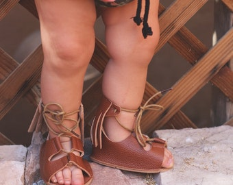 Baby gladiator lace up Mocs moccasins shoes