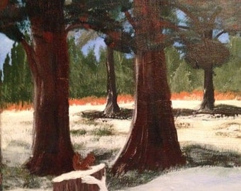 "Original 16x12 acrylic painting on canvas snowey landscape ""cedars"""