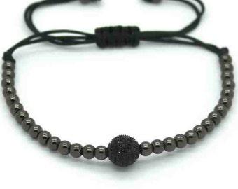 Bead bracelet 4mm/8mm gun metal grey
