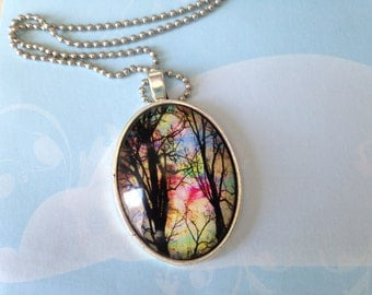 cameo necklace with colored chain