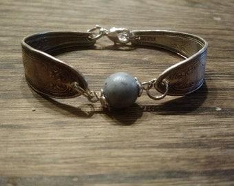 Vintage spoon bracelet with memory bead