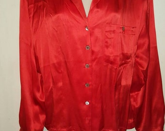 Vintage Christian Dior  blouse,red dior blouse,silk dior blouse