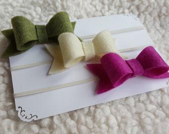 felt bow headband, moss green ivory and magenta bow elastic headband, baby girl hair bow, baby infant girl headband