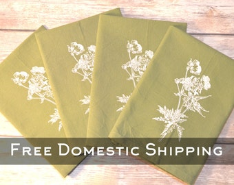 Green Floral Print Cotton Napkins - Set of 4