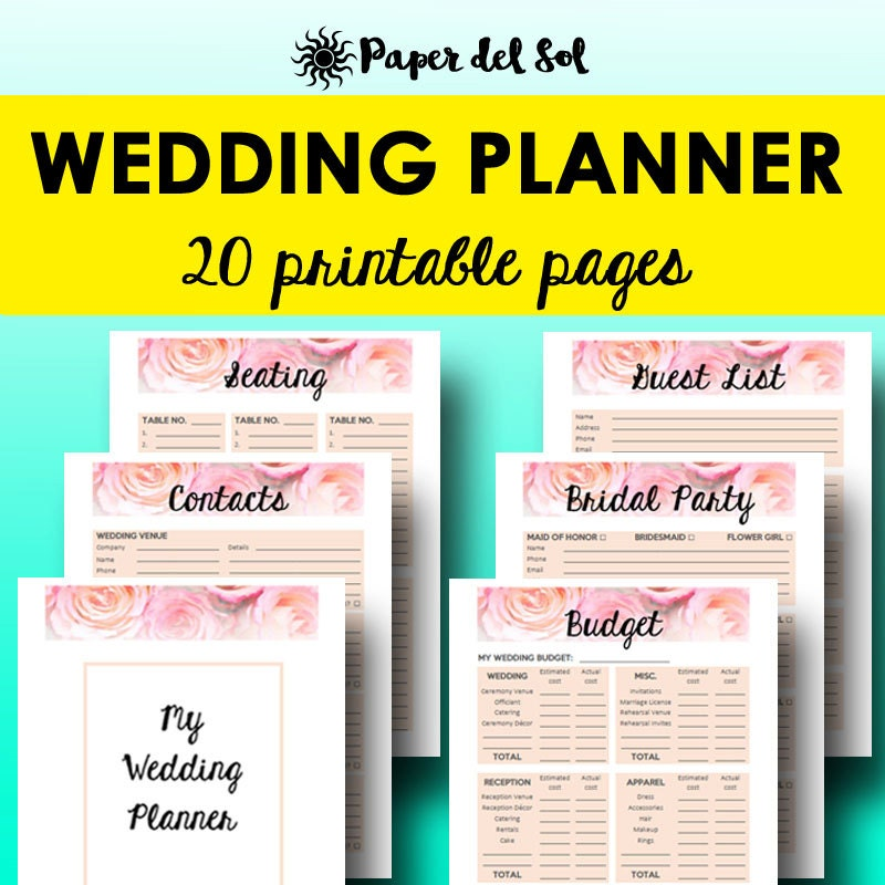 Printable Wedding Planner Book Wedding Planner by PaperdelSol