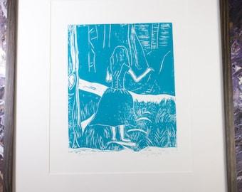 Whimsical Linocut Art Block Print-Turquoise