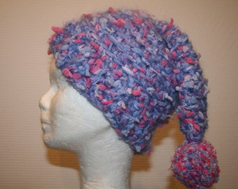 Crochet blue and pink Pixie hat and her Pompom coordinated