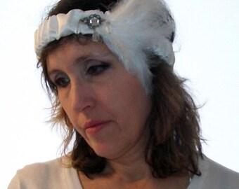 Headband satin white feathered headband wedding white feathered headband, headband Gatsby Gatsby