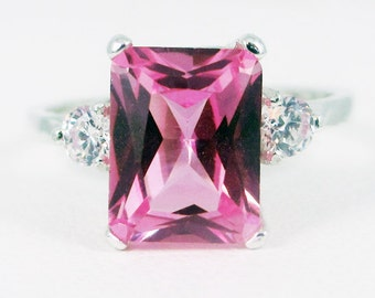 READY TO SHIP Size 7, Pink Sapphire and White Cz Emerald Cut Ring Sterling Silver