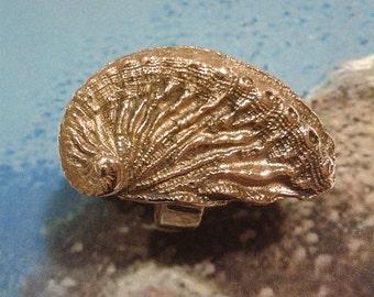 Ocean - Bronze handmade ring - abalone shell - marine wonders