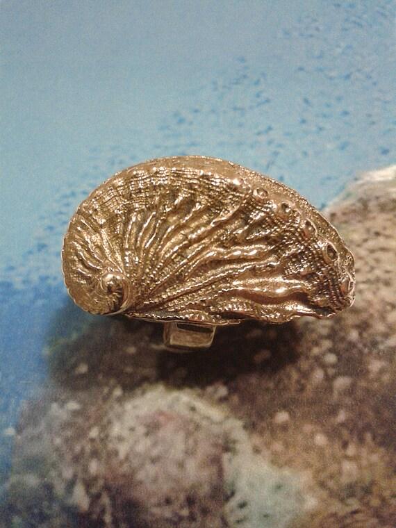 Océane - Made bronze ring hand - abalone shell - marine wonders