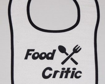"Funny baby bib ""food critic"""