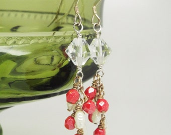 Crystal dangle earrings, red crystal, freshwater pearl, chain dangle earring red jewelry valentines romantic