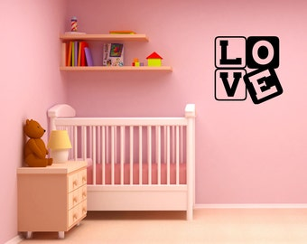 Love Blocks for kids bedrooms or children's nursery, play room, play area - decorative vinyl wall art decal or removable sticker -0024