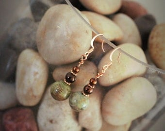 Serpentine and copper drop earrings.