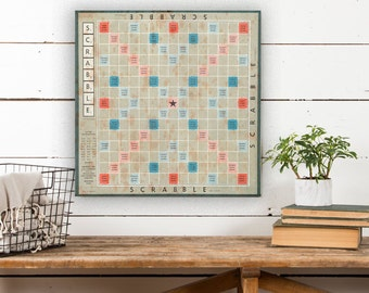 Scrabble Board on Canvas, Vintage Game Board, Vintage Decor, Game Board Canvas, Canvas Wall Decor, Canvas Art, Canvas Wall Hanging