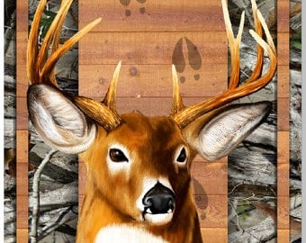 Deer Buck Head Wood Plank Camo LAMINATED Cornhole Wrap Bag Toss Decal Baggo Skin Sticker Wraps
