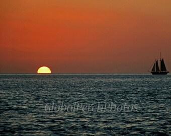 Key West. Sunset. Windjammer.  Florida Keys.  Red Sunset. Sailing Ship.  Ocean Sunset.