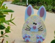 Easter Wood  Bunny Egg