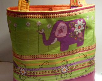Large Colorful Elephants Tote, Diaper Bag, Elephant Diaper bag tote, Elephant Baby bag tote, Elephants carry all, Colorful Elephants Handbag