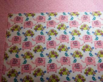 Pink Elephants Baby Blanket, Turtles, Flannel