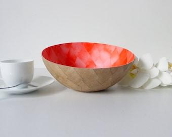 Diamond orange papier-mache and kraft - large bowl model