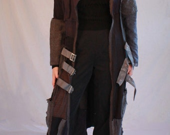Our handmade patchwork Long Coat in our Black / Grey Colorway