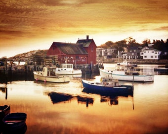 Rockport Mass, Motif Number 1, New England Coast, Motif Photo, Boats In Harbor,  Sunrise Reflections, Mass. Travel, Wall Decor, Oranges