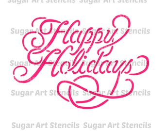 Happy holidays stencil for cookie decorating , cookie stencil !  NB22208 holidays Christmas