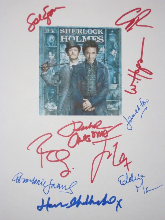 Sherlock Holmes Signed Film Movie Script Screenplay X10 Robert Downey Jr Jude Law Rachel McAdams Eddie Marsan James Fox Guy Ritchie signatur