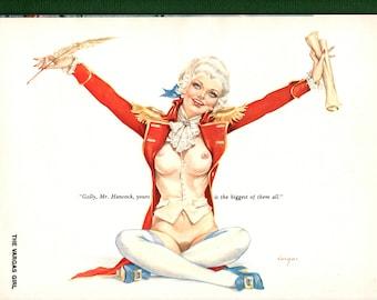 Vargas Pinup vintage magazine illustration for Playboy magazine July 1975