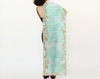 """Silk scarf - """"Emmy"""" long silk scarf-floral-watercolor 72"""" x 16"""""""