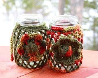 Autumn Flower Mason Jar Cozies (Set of 2)