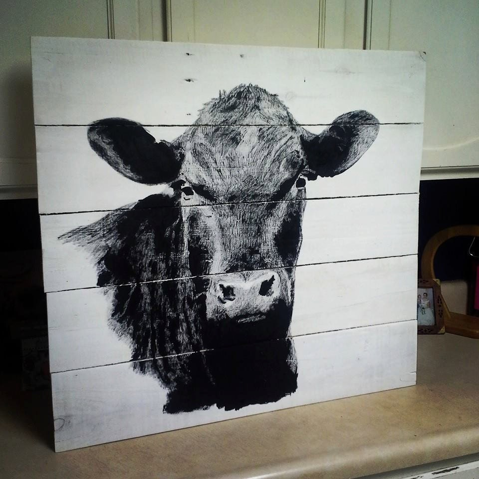 Black Cow Wall Decor : Handpainted angus cow wood sign repurposed by customr designs