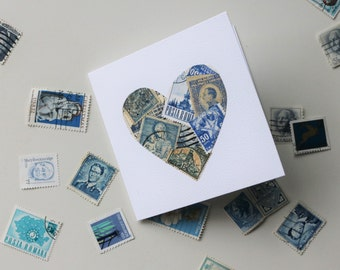 Blue hand crafted love heart gift card, using vintage stamps from around the world