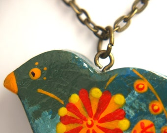 Colorful bird necklace, colorful necklace, bird motif with flowers
