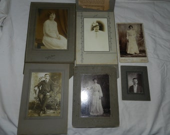 6 antique photos / photographs / portraits Men and Women - Cabinet card and other vintage images                                        4-33