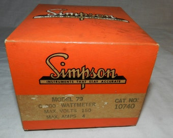 New and unused in box Simpson Model 79 O-300 Watt Meter - max. Volts 150 - Max. Amps 4 - Very Steampunk                                32-21
