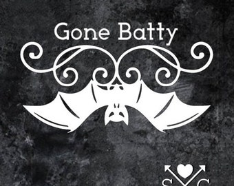 Gone Batty Vampire Bat Gothic Halloween Car Decal Skateboard Decal Guitar Decal Yeti Decal Laptop decal