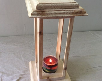 Candle tower pine, decorative base, decorative top, unfinished, rustic, wedding decoration
