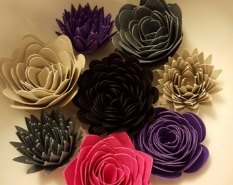 Midnight Colored Flowers, Paper Flowers, Wedding Decor, Embellishments